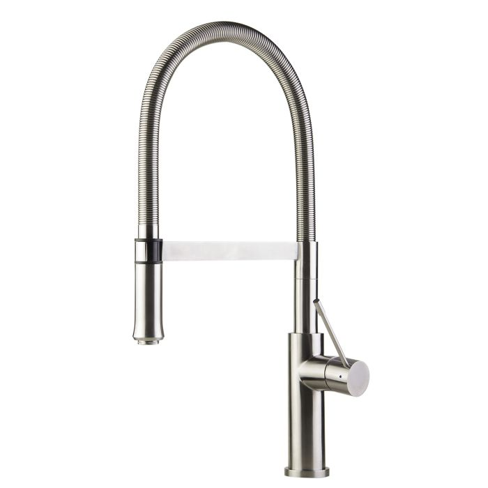 Alfi Brand Ab2015 Brushed Gooseneck Single Hole Kitchen Faucet