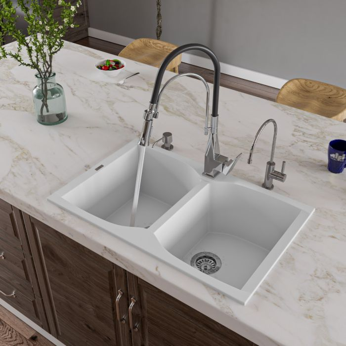 Alfi Brand Ab3220di 32 Drop In Double Bowl Granite Composite Kitchen Sink