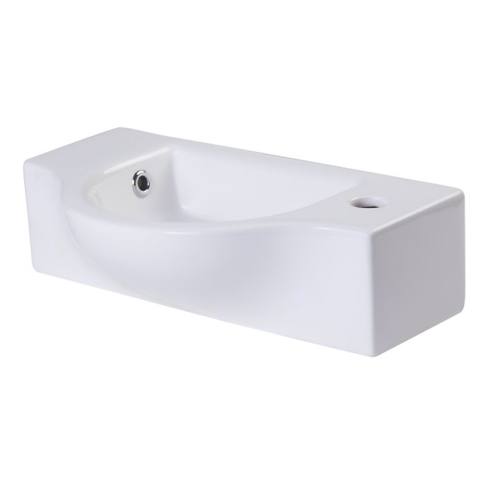 Alfi Brand Ab105 Small Wall Mounted White Ceramic Bathroom Sink