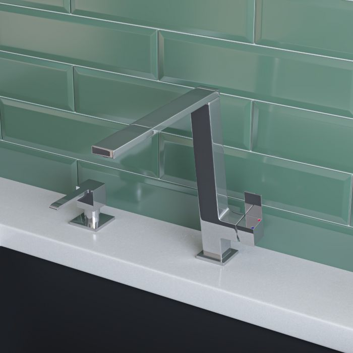 Alfi Brand Ab2047 Fancy Square Modern Solid Stainless Steel Kitchen Faucet