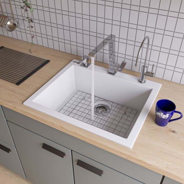 Alfi Brand Ab2420di 24 Drop In Single Bowl Granite Composite Kitchen Sink