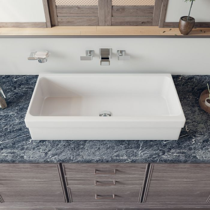 Alfi Brand Ab36tr 36 White Above Mount, White Trough Sink Bathroom Vanity