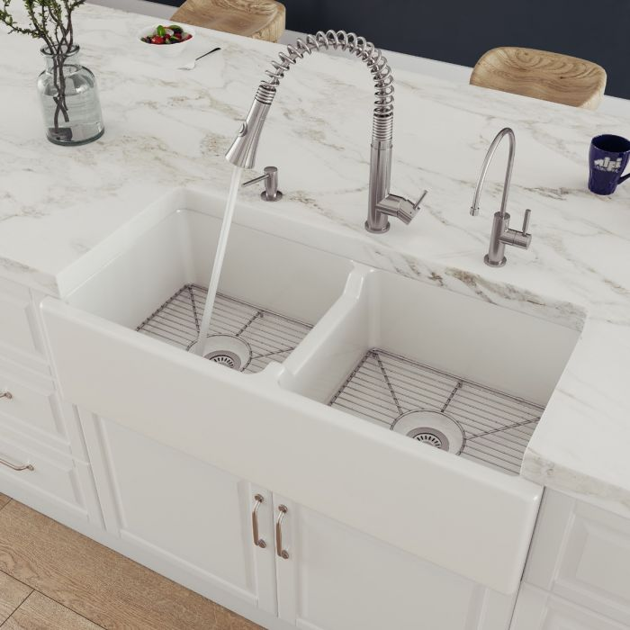 Alfi Brand Ab3918 39 Smooth Thick Wall Fireclay Double Bowl Farm Sink