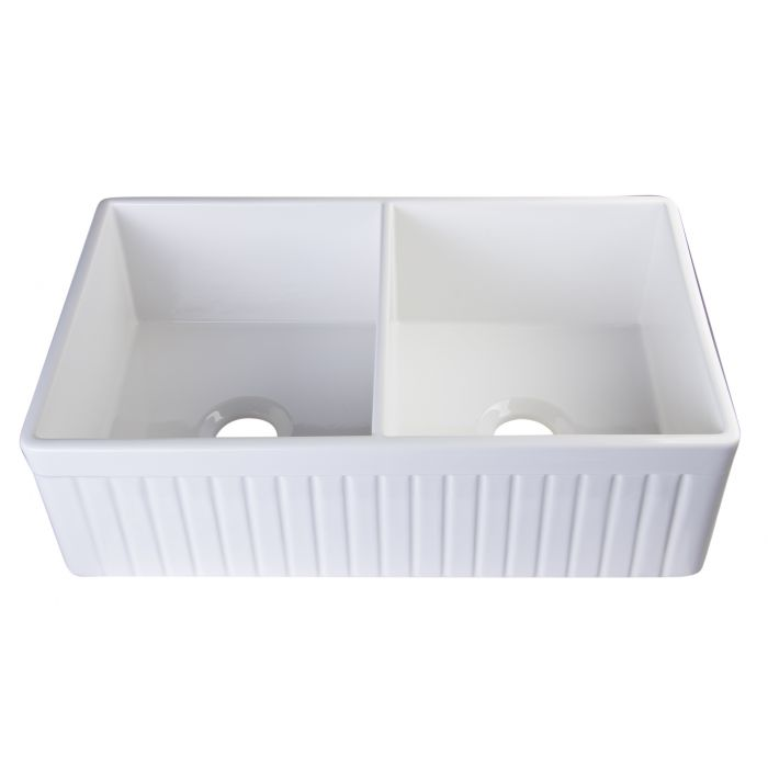 Alfi Brand Ab537 32 Fluted Double Bowl Fireclay Farmhouse Kitchen Sink